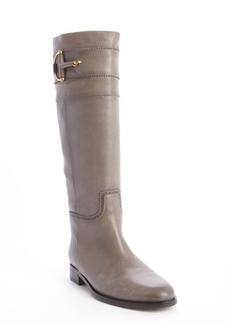 Gucci grey tooled leather horse bit boots
