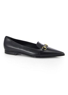 Gucci Heidi Leather Point Toe Horsebit Loafers