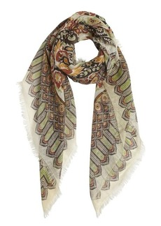 Gucci ivory cotton-linen blend pattern printed scarf