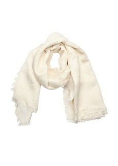 Gucci ivory silk and wool blend gg logo fringe detail scarf