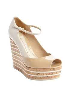 Gucci khaki leather 'Eilin' open toe mary jane wedges