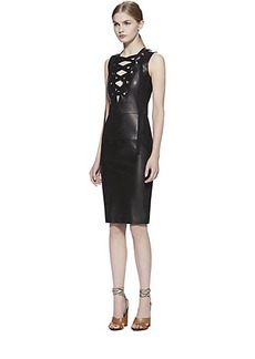 Gucci Lace-Up Leather Dress