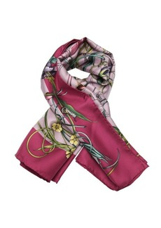 Gucci lavender and green 'Flora Infinity' printed silk scarf