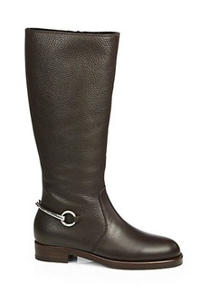 Gucci Leather & Shearling-Lined Horsebit Boots