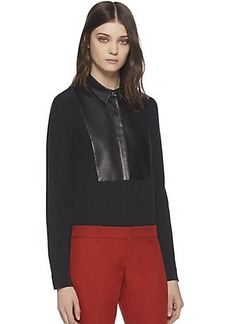 Gucci Leather & Silk Crepe De Chine Shirt