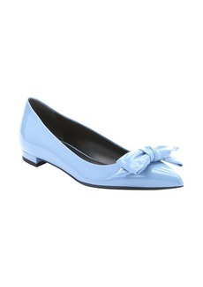 Gucci light blue patent leather bow detail ballerina flats
