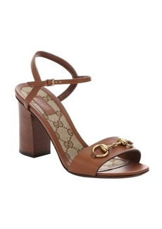 Gucci light brown leather horsebit detail sandals