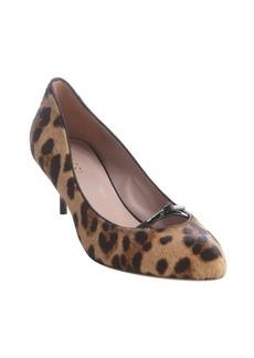 Gucci light brown leopard print calf hair kitten heels