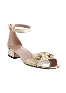 Gucci light gold suede horsebit detail anklestrap sandals