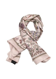 Gucci light pink and purple floral printed silk scarf