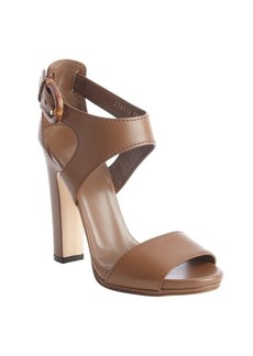 Gucci maple brown leather bamboo buckle heel sandals