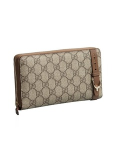 Gucci maple GG coated canvas buckle zip continental wallet