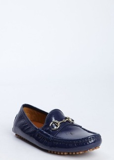 Gucci marine textured patent leather moc toe horsebit strap loafers