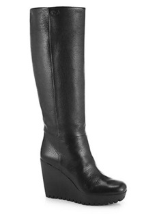 Gucci Marion Knee-High Leather Wedge Boots