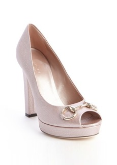 Gucci metallic pink leather horsebit peep toe pumps