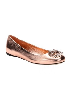 Gucci metallic rose gold crystal gg logo ballet flats