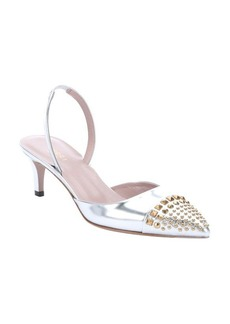 Gucci metallic silver leather studded slingback kitten pumps