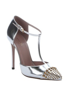 Gucci metallic silver leather studded t-strap pumps
