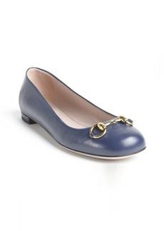 Gucci midnight blue leather 'Jolene' buckle detail ballerina flats