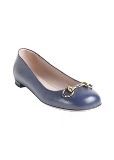 Gucci midnight blue leather 'Jolene' horsebit detail flats