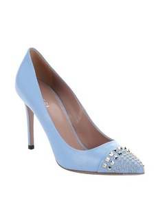 Gucci mineral blue leather studded cap toe pumps
