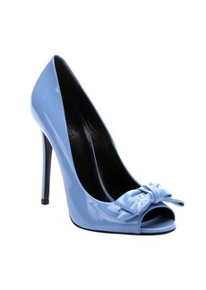 Gucci mineral blue patent leather bow detail open toe pumps