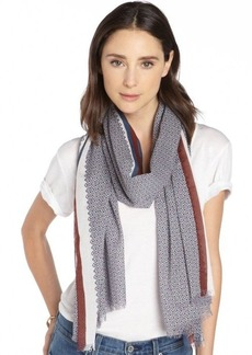 Gucci navy and burgundy cotton striped accent pattern printed scarf
