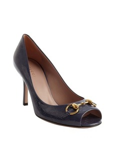 Gucci navy leather horsebit peep toe pumps