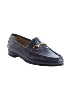 Gucci navy patent leather moc toe loafers