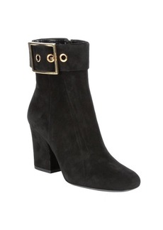 Gucci nero suede buckle detail ankle booties