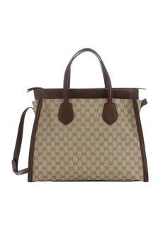 Gucci new sand and nut brown gg canvas large 'Ramble' layered convertible tote
