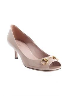 Gucci nude patent leather 'Jolene' horsebit peep toe pumps