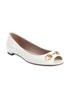 Gucci off white leather peep toe flats