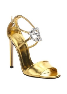 Gucci old gold leather crystal 'GG' stiletto sandals