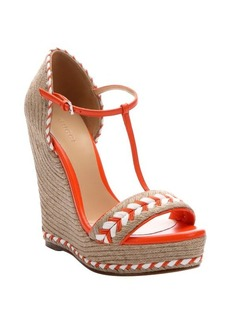 Gucci orange leather and jute t-strap open toe wedge espadrilles