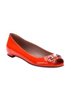 Gucci orange patent leather horsebit detail open toe ballerina flats