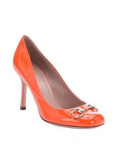 Gucci orange patent leather horsebit detail pumps