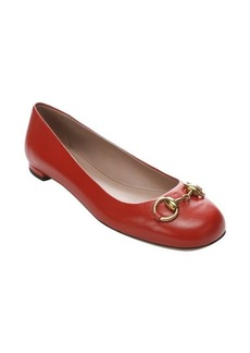 Gucci oxidation leather 'Jolene' horsebit detail flats
