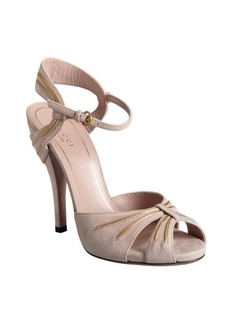 Gucci pale pink and gold suede piped ankle strap sandals