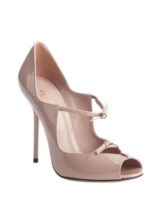 Gucci pale pink patent leather strappy peep toe pumps