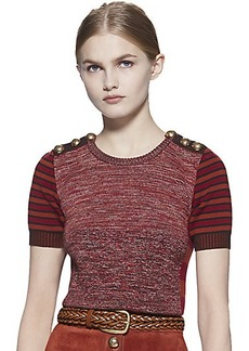 Gucci Patchwork Knit Short Sleeve Top