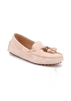 Gucci peach flower suede tie detail driving loafers