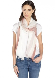 Gucci petal pink and white cotton sheer printed scarf