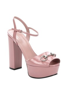Gucci phard pink leather horsebit detail peep toe sandals