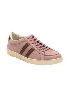 Gucci pink and brown suede striped detail sneakers