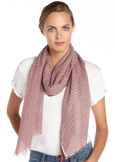 Gucci pink and burgundy cotton striped accent pattern printed scarf