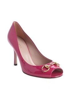 Gucci pink guccissima embossed leather horsebit peep toe pumps