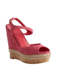 Gucci pink guccissima suede and cork wedge sandals