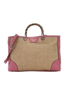 Gucci pink leather and straw bamboo accent convertible shopper tote