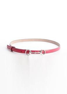 Gucci pink leather horsebit buckle skinny belt